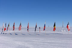 Ceremonial South Pole - flags of original Antarctic Treaty signatory nations