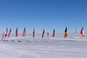 Ceremonial South Pole - flags of original Antarctic Treaty signatory nations